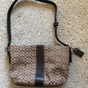 Brown Mini Coach Logo Shoulder Bag